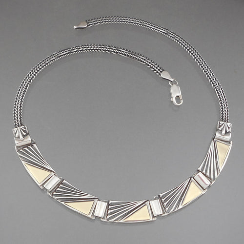 Vintage Handcrafted Artisan Collar Necklace. Curved links with fan shaped openwork design and chain, gold plated sterling silver. Artist unknown, sign MD. Approximately 1/2