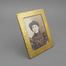 Load image into Gallery viewer, Antique Arts and Crafts Miniature Easel Picture Frame - Victorian Photograph - Gilded Hammered Steel or Tin