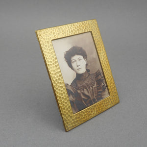 Antique Arts and Crafts Miniature Easel Picture Frame - Victorian Photograph - Gilded Hammered Steel or Tin