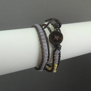 Leather and Opalescent Stone Double Wrap Bracelet or Choker Necklace - Brown, Beige, Purple Beads