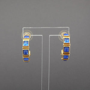 Vintage 1990s Blue Crystal Hoop Earrings by Swarovski, Signed with Swan Mark, Gold Tone, Faux Sapphire