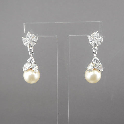 Vintage Crystal or CZ, Dangle Post Earrings with Faux Pearls - Formal, Wedding