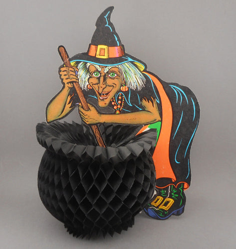 Vintage Beistle USA Witch Halloween Decoration with Accordion Paper Cauldron