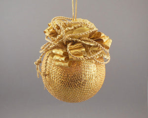 "Large Metallic Gold Lamé Ball Christmas Ornament - Handmade by Towers and Turrets - ""Midas"""