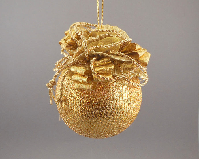 Large Metallic Gold Lamé Ball Christmas Ornament - Handmade by Towers and Turrets -
