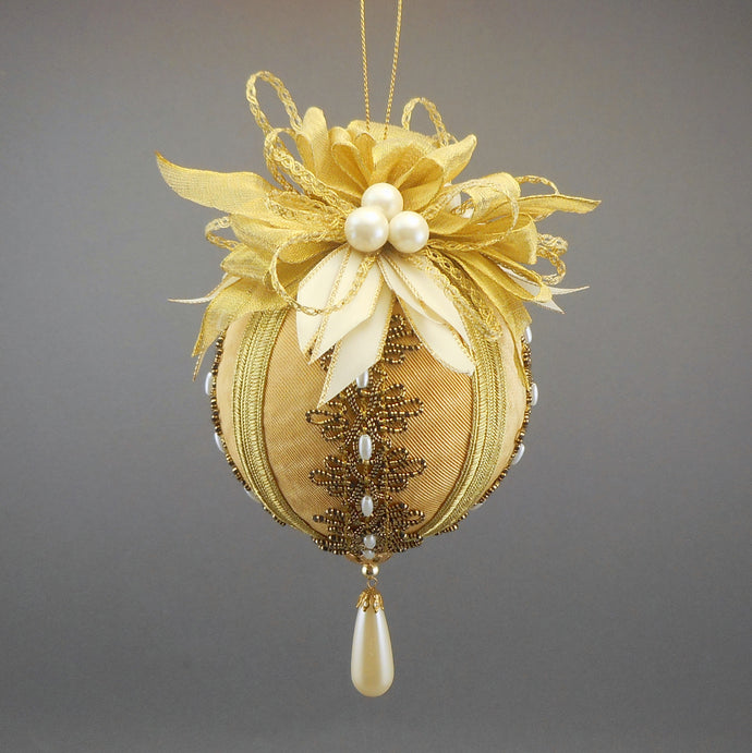 Large Moiré Faille Taffeta Ball Christmas Ornament in Three Colors - Handmade by Towers and Turrets -