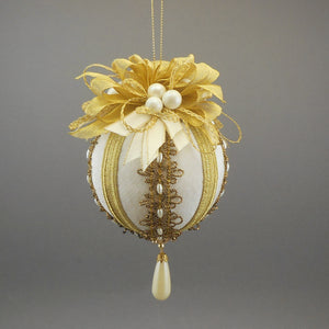 "Large Moiré Faille Taffeta Ball Christmas Ornament in Three Colors - Handmade by Towers and Turrets - ""Christine"""