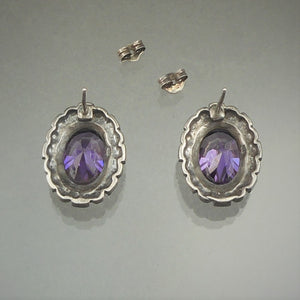 Vintage Faux Amethyst and Marcasite Post Earrings - Victorian Revival Style, Purple Oval Stones, Sterling Silver