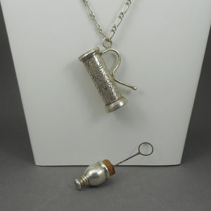 Antique Victorian Nanny's Chatelaine Bubble Blower - Silver Plated Bottle with Cork Stopper and Wand, Chain Necklace