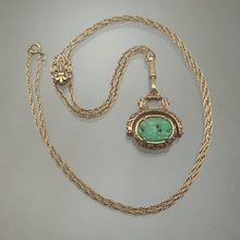 Load image into Gallery viewer, Vintage 1960s Victorian Revival Faux Jade Fob Necklace - Swivel Pendant, Green Glass, Fleur de Lis Slide, Pearls, Rhinestones