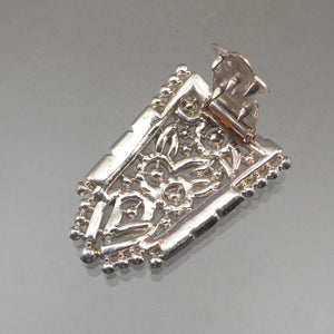 Antique Art Deco Rhinestone Dress Clip - Circa 1920, Silver Tone Setting