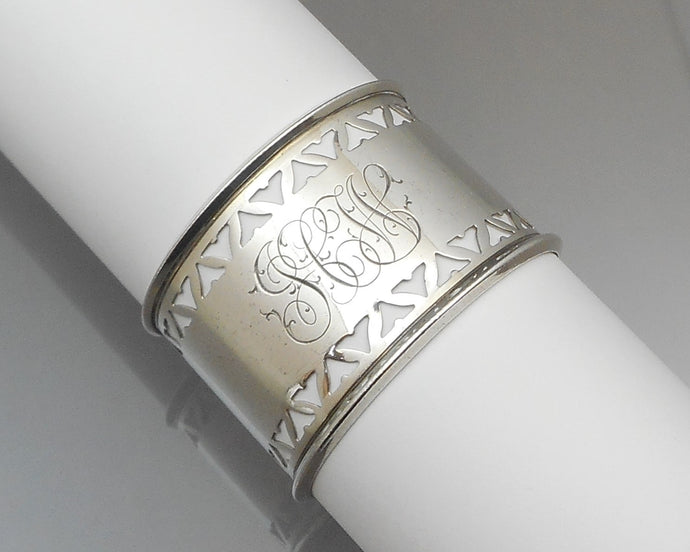 Antique or Vintage Napkin Ring - Openwork Sterling Silver with JCW Monogram