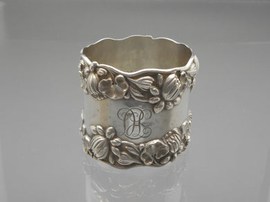 Antique Gorham Water Lilies Napkin Ring - Sterling Silver with LHC Monogram