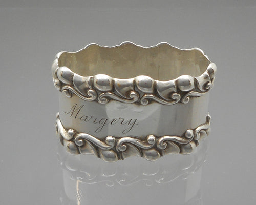 Antique Victorian Napkin Ring - Sterling Silver, Inscribed Margery