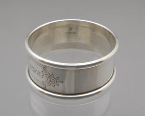 Antique Art Deco Era Napkin Ring - Sterling Silver by Rogers, Lunt & Bowlen