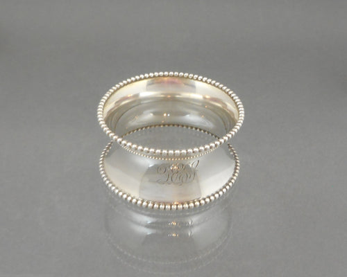 Antique Art Deco Napkin Ring - Sterling Silver with Beaded Rim - DES Monogram