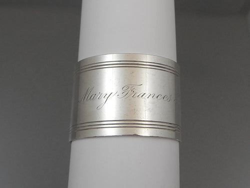 Antique Art Deco Napkin Ring - Towle Sterling Silver, Engraved Mary Frances