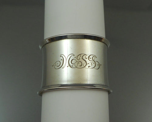 Antique or Vintage Napkin Ring - Sterling Silver with MSB Monogram