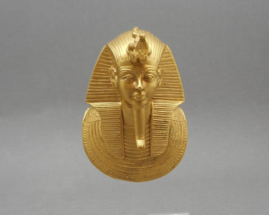 Vintage Mask of Tutankhamun (King Tut) Pendant, 1976 MMA, Matte Gold Finish