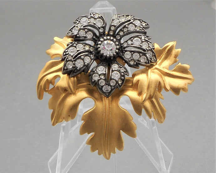 Vintage Joan Rivers Flower Brooch - Crystals, Matte Gold Tone, Gunmetal