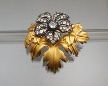 Load image into Gallery viewer, Vintage Joan Rivers Flower Brooch - Crystals, Matte Gold Tone, Gunmetal