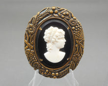 Load image into Gallery viewer, Vintage Victorian Revival Cameo Brooch - Black, White, Bronze Tone