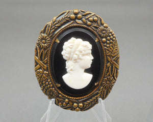 Vintage Victorian Revival Cameo Brooch - Black, White, Bronze Tone