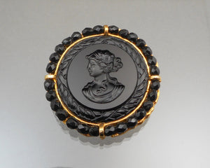 Vintage Victorian Revival Brooch by Robert Rose - Cameo Style Black Bead and Glass Intaglio