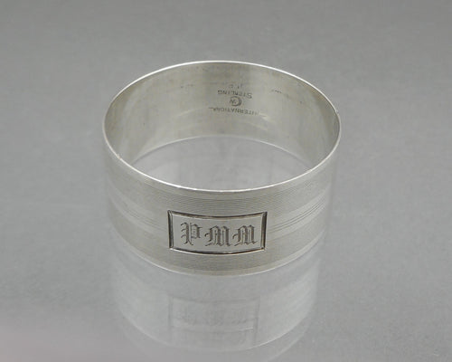 Antique Art Deco Napkin Ring - Sterling Silver, PMM Monogram