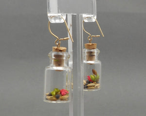 Vintage Glass Bottle Earrings - Pink and Green Dried Flowers and Seeds