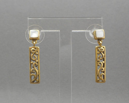 Vintage Art Deco Style Earrings - Gold Vermeil Sterling Silver with Mother of Pearl