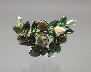 Vintage Regency Brooch Emerald Green and AB Rhinestones and Olive Green Glass