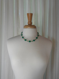 Antique Art Deco Necklace - Green Molded Faux Jade Glass Beads, Gold Filled Chain, Princess Length