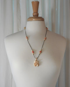 Vintage or Antique Carved Bone Rose Pendant, Coral and Ivory Color Beads on a Black Cord Necklace