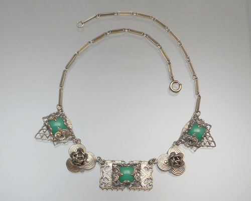Antique Art Deco Green Chrysoprase Collar Necklace - Victorian Revival Style, Silver Filigree