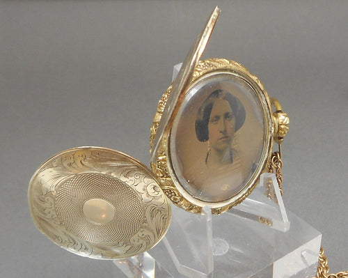 Antique Antebellum Era Daguerreotype Double Locket - Pocket Watch Style, Gold Filled Case