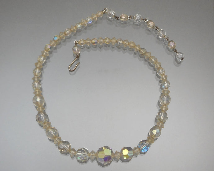 Vintage 1950s Aurora Borealis Collar Necklace - Graduated AB Glass Beads