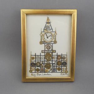 Vintage Watch and Clock Parts Framed Assemblage Art - Big Ben, London - Horological Collage by L. Kersh