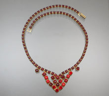 Load image into Gallery viewer, Vintage Weiss Rhinestone Collar Necklace - Round Red Stones, Gold Tone, Signed Weissco