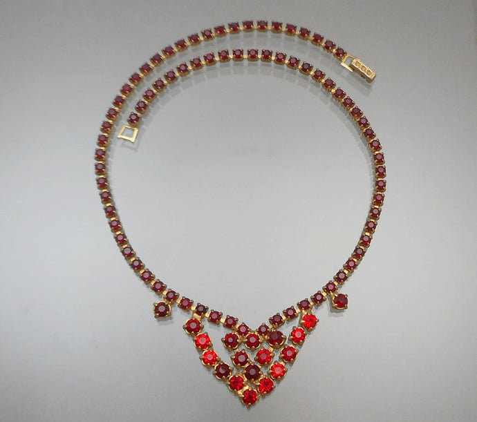 Vintage Weiss Rhinestone Collar Necklace - Round Red Stones, Gold Tone, Signed Weissco