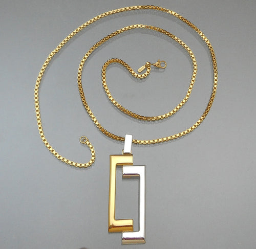 Vintage Monet Pendant Necklace -  Modernist Design, Silver and Gold Tone, Box Link Chain