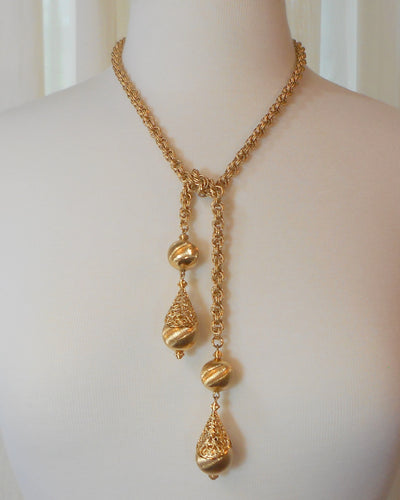 Vintage Bolero Lariat Necklace - Circa 1970, Textured Gold Tone Chain, Filigree and Beads