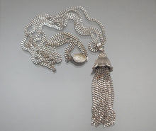 Load image into Gallery viewer, Vintage Monet Necklace - Circa 1970, Silver Tone Flower Tassel, Double Twist Chain