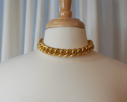 Vintage Erwin Pearl Statement Necklace - Collar Length Chain, Matte Gold Tone Links