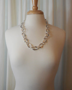 Vintage Napier Chain Necklace -  Circa 1980, Silver Tone Curb Links