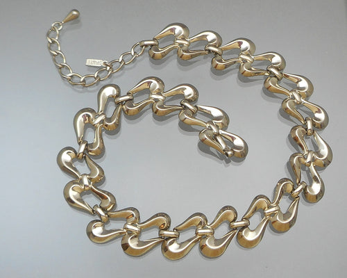 Vintage Monet Collar Necklace - Circa 1970, Dark Silver Tone Chain, Adjustable