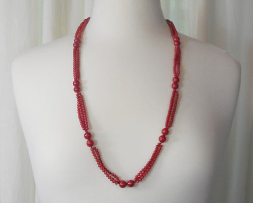 Vintage Red Quartz or Jade Necklace - Natural Polished Stone, Triple Strand