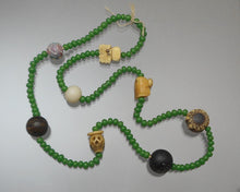 Load image into Gallery viewer, Set of Vintage or Antique Japanese Ojime Beads - Bone, Glass, Wood