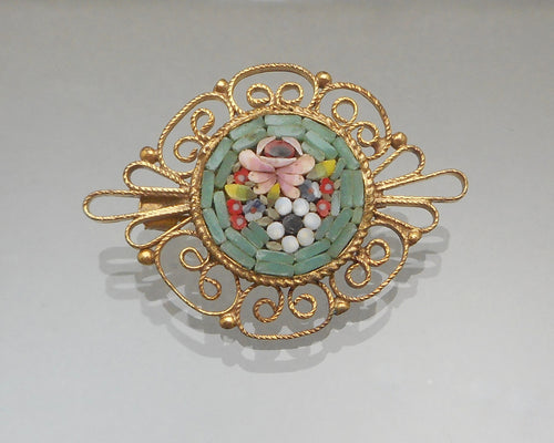 Vintage 1950s Italian Micro Mosaic Brooch - Glass, Gold Tone Filigree - Souvenir of Italy