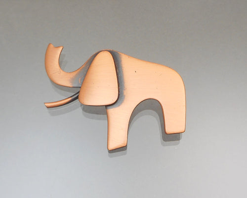 Vintage Brushed Copper Elephant Brooch, Signed Kim